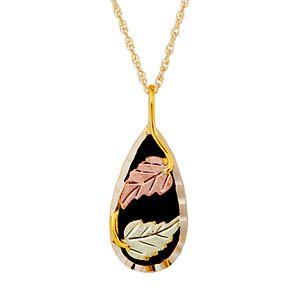 Black Hills Gold Tri-Tone Onyx Pendant Necklace