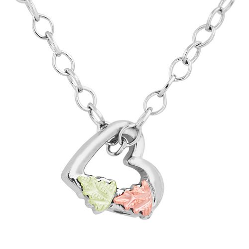 Black Hills Gold Tri-Tone Heart Charm Necklace in Sterling Silver