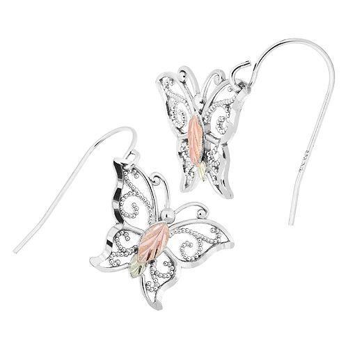 Black Hills Gold Tri-Tone Butterfly Drop Earrings in Sterling Silver