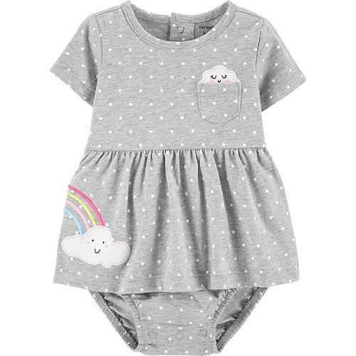 Baby Girl Carter's Polka Dot Rainbow Jersey Sunsuit