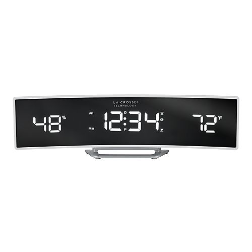 La Crosse Technology Curved Alarm Clock with Mirrored LED Lens Display