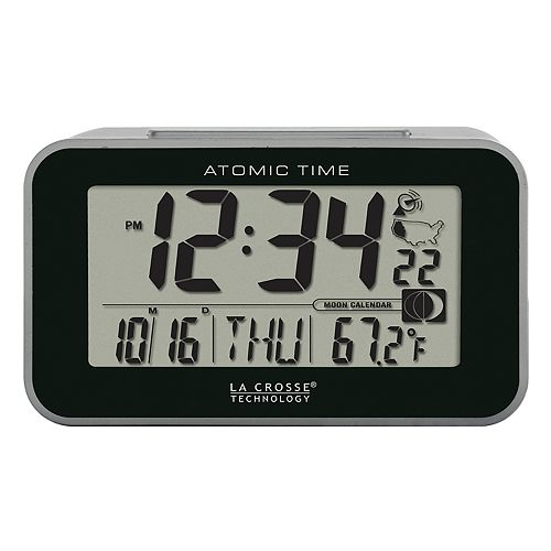 La Crosse Technology Atomic Digital Alarm Clock with Temp & Moon Phase
