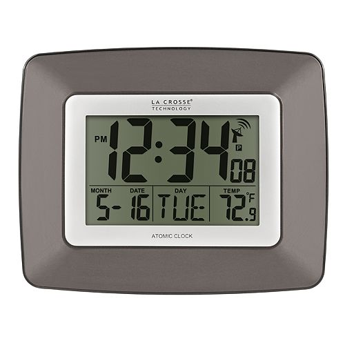 La Crosse Technology Atomic Digital Wall Clock with Temperature