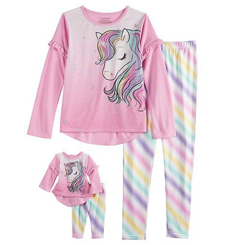 Girls 4-10 Cuddl Duds Unicorn Top & Bottoms Pajama Set & Matching Doll Pajamas