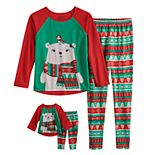 Girls 4-10 Cuddl Duds Fairisle Polar Bear Top & Bottoms Pajama Set & Matching Doll Pajamas