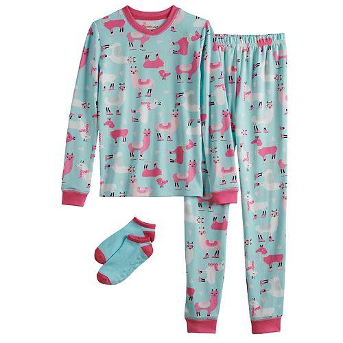 Girls 4-10 Cuddl Duds Top & Bottoms Pajama Set with Socks