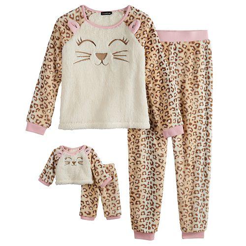 Girls 4-12 Cuddl Duds Cheetah Top & Bottoms Pajama Set & Matching Doll Pajamas