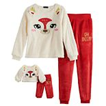 Girls 4-12 Cuddl Duds® Oh Deer Top & Bottoms Pajama Set & Matching Doll Pajamas