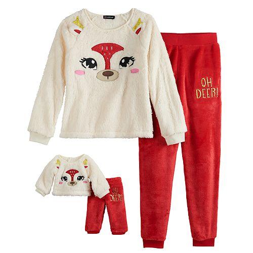 Girls 4-12 Cuddl Duds Oh Deer Top & Bottoms Pajama Set & Matching Doll Pajamas