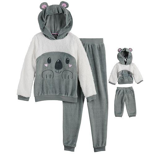 Girls 4-12 Cuddl Duds Top & Bottoms Pajama Set & Matching Doll Pajamas
