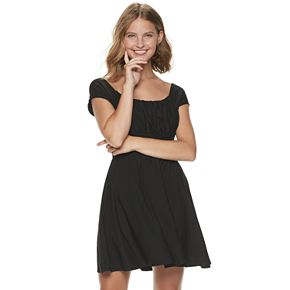 Juniors' Lily Rose Extended Cap Sleeve Rouched Front Skater Dress