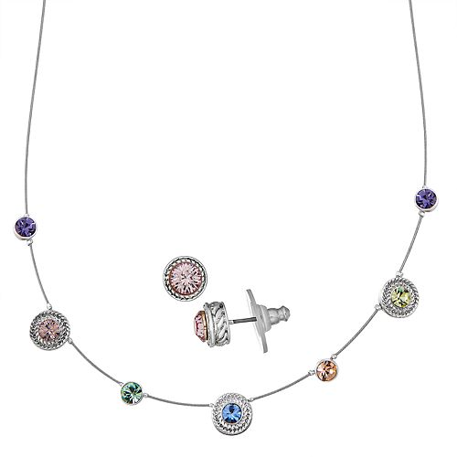 Napier Silver Toned Simulated Crystal Necklace and Stud Earring Set