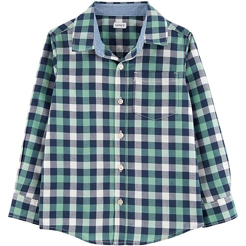 Boys 4-14 Carter's Green and Blue Plaid Button-Down