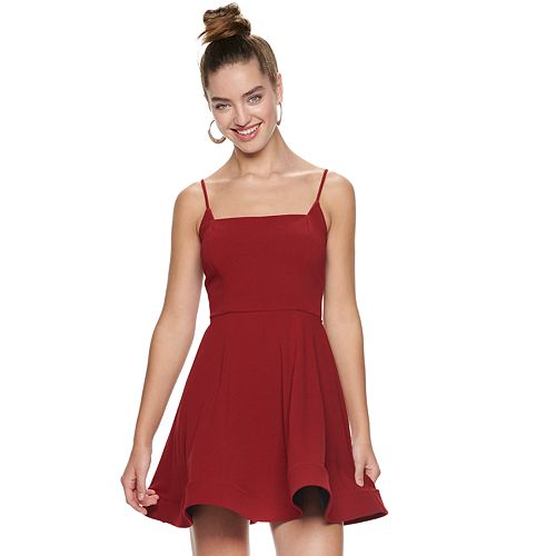 Juniors' Three Pink Hearts Cage Back Skater Dress