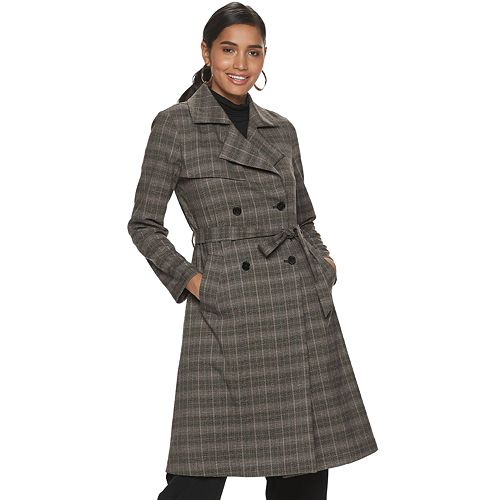 Women's Jennifer Lopez Plaid Trench Coat