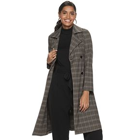 Women's Jennifer Lopez Plaid Trench Coat