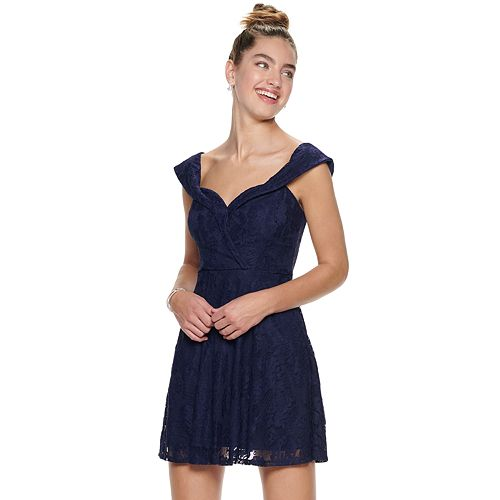 Juniors' Speechless Lace Off-Shoulder Dress