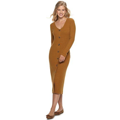 Juniors' SO® Long Sleeve Button Front Midi Dress