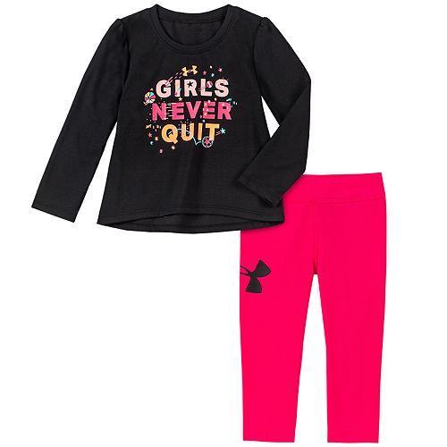 "Baby Girl Under Armour ""Girls Never Quit"" Tee & Leggings Set"