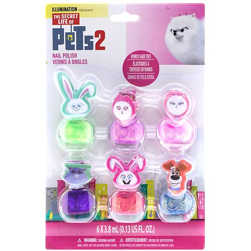 The Secret Life of Pets 6-Pack Peelable Nail Polish & Hair Ties Set