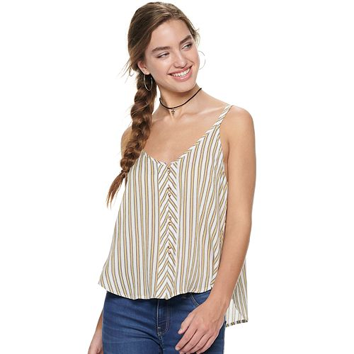 Juniors' Liberty Love Button Front V Neck Tank