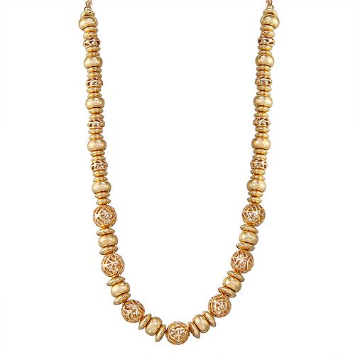 "Napier Gold Toned 16"" Beaded Collar Necklace"
