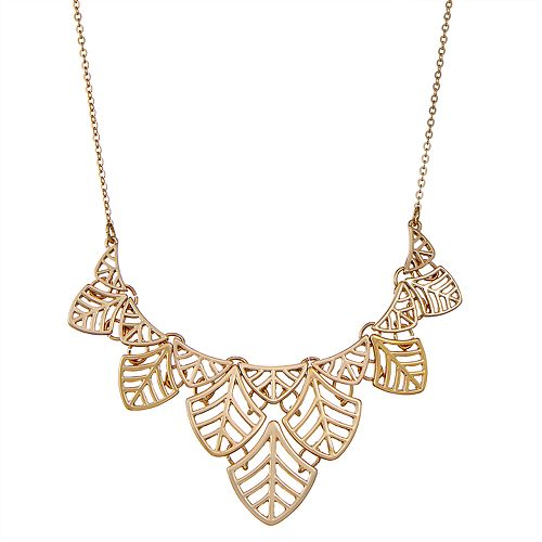 "Napier Gold Toned 16"" Leaf Pattern Dangle Necklace"