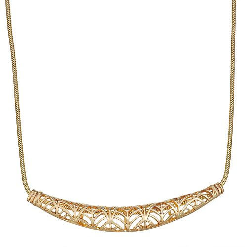 "Napier Gold Toned 16"" Frontal Bar Rope Chain Necklace"