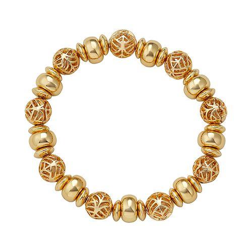 "Napier Gold Toned 2.5"" Beaded Stretch Bracelet"