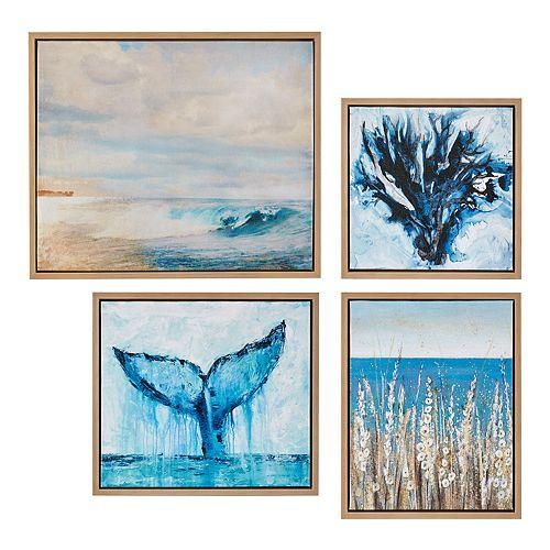 Madison Park Seascape Framed Canvas Wall Decor 4-piece Set