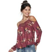 Juniors' Rewind Lace Trim Off-the-Shoulder Top