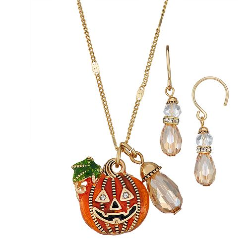 """Napier Gold Toned 16"""" Pumpkin Necklace Simulated Crystal Earrings Set"""