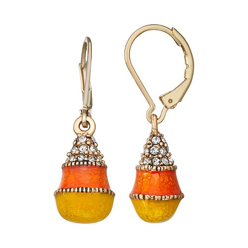 Napier Gold Toned Halloween Candy Corn Leverback Drop Earrings