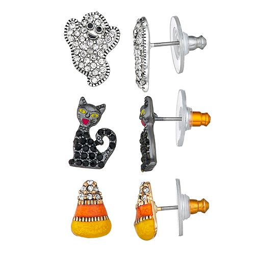 Napier Silver And Gold Toned Halloween Trio Stud Earrings