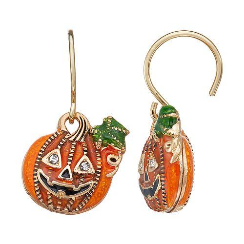 Napier Gold Toned Halloween Pumpkin Leverback Drop Earrings