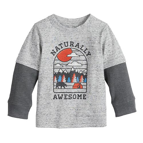 Baby Boy Jumping Beans® Slubbed Thermal Mock-Layer Graphic Tee