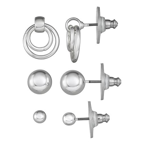 Napier Silver Toned Circle and Sphere Post Earrings Trio Set
