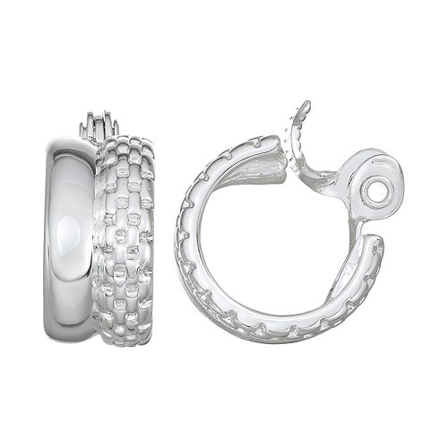 Napier Silver Toned Textured Hoop Clip On Earrings