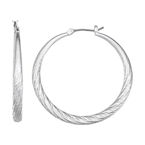 Napier Silver Toned Large Wrapped Hoop Earrings