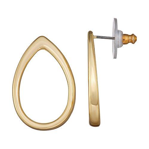Napier Gold Toned Open Teardrop Post Earrings