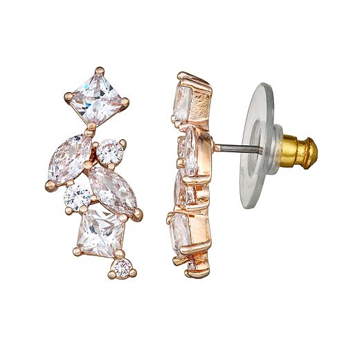 Napier Rose Gold Toned Cubic Zirconia Cluster Post Earrings