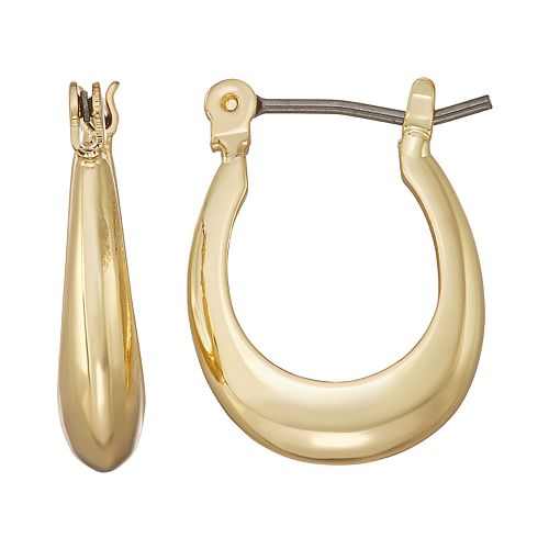 Napier Gold Toned 22mm Small Twist C-Hoop Earrings