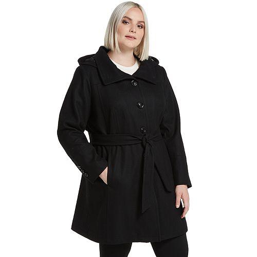 Plus Size Gallery Belted Wool Blend Walker Coat