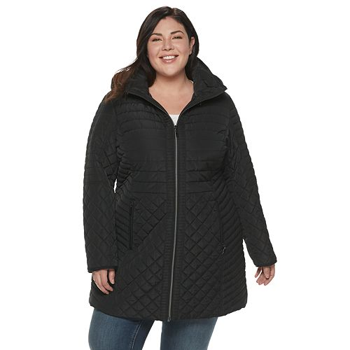 Plus Size Gallery Hooded Multi-Quilted Walker Jacket