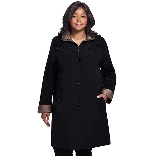 Plus Size Gallery Hooded Midweight Rain Jacket