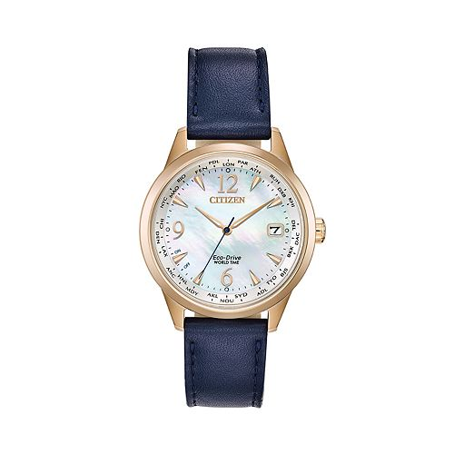 Citizen Eco-Drive Women's World Time Blue Leather Watch