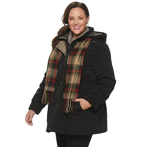 Plus Size Gallery Hooded Heavyweight Anorak Jacket & Scarf Set