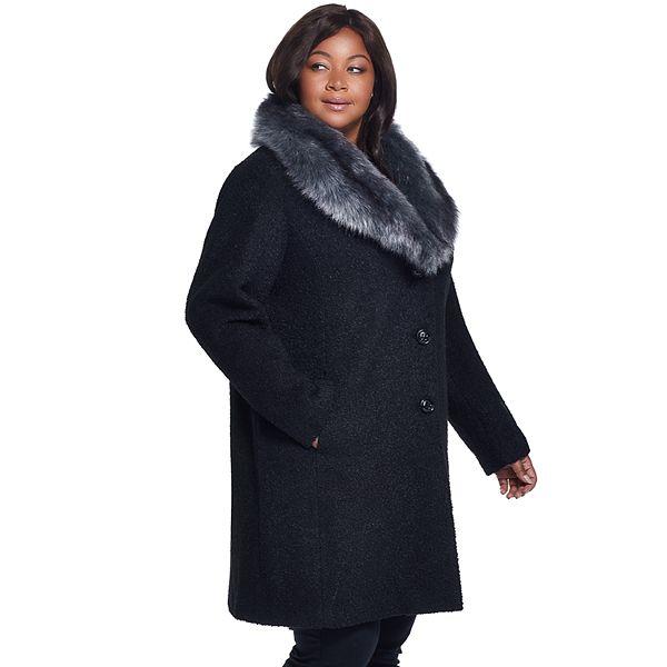 Plus Size Gallery Faux Fur Collar Wool Blend Jacket