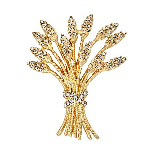 Napier Gold and Crystal Wheat Bundle Pin