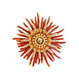 Napier Gold and Orange Flower Pin